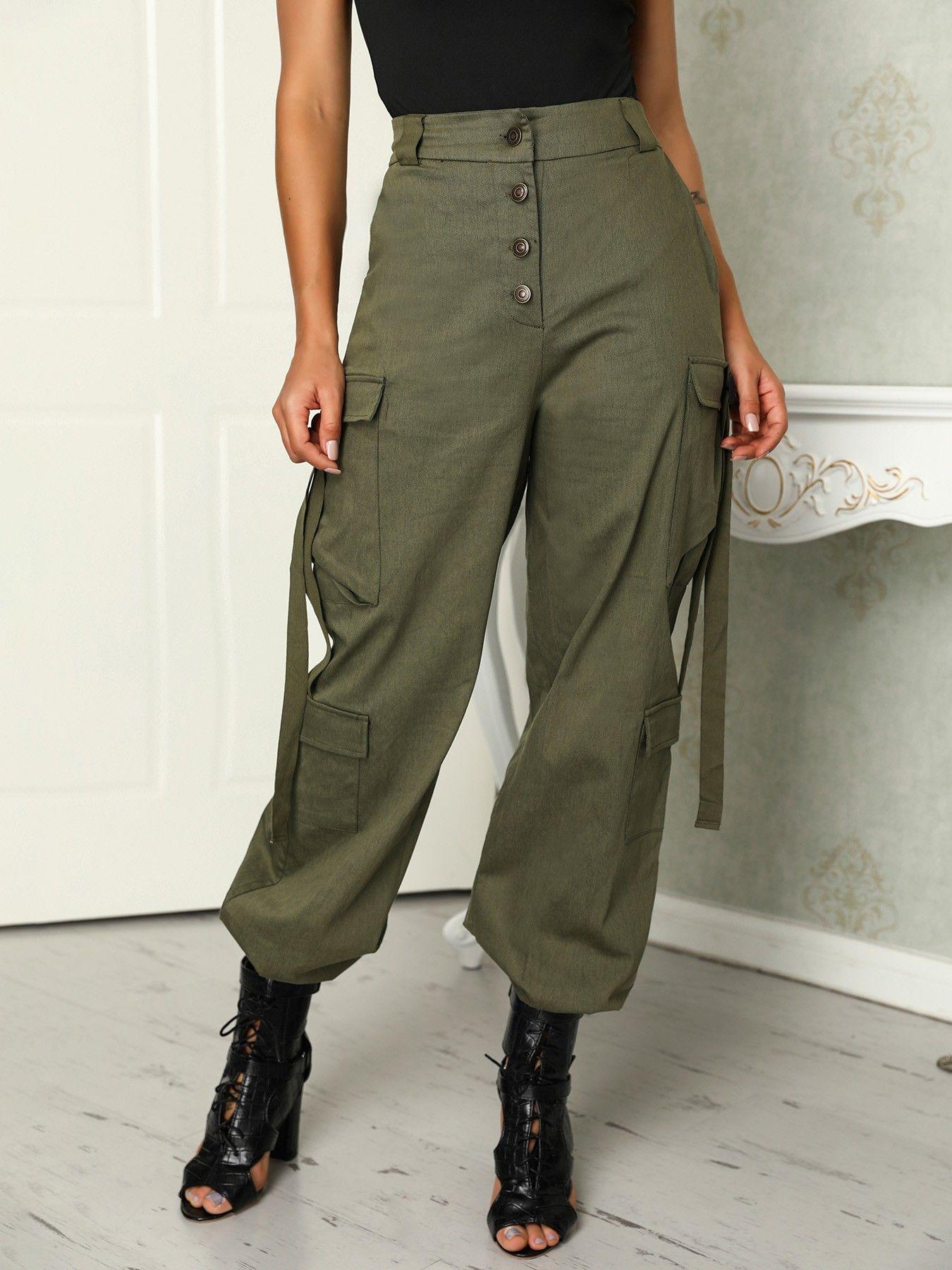07dad96d2d01 Shop Button Pocket Design Elastic Hem Leisure Pants right now, get great  deals at Joyshoetique.