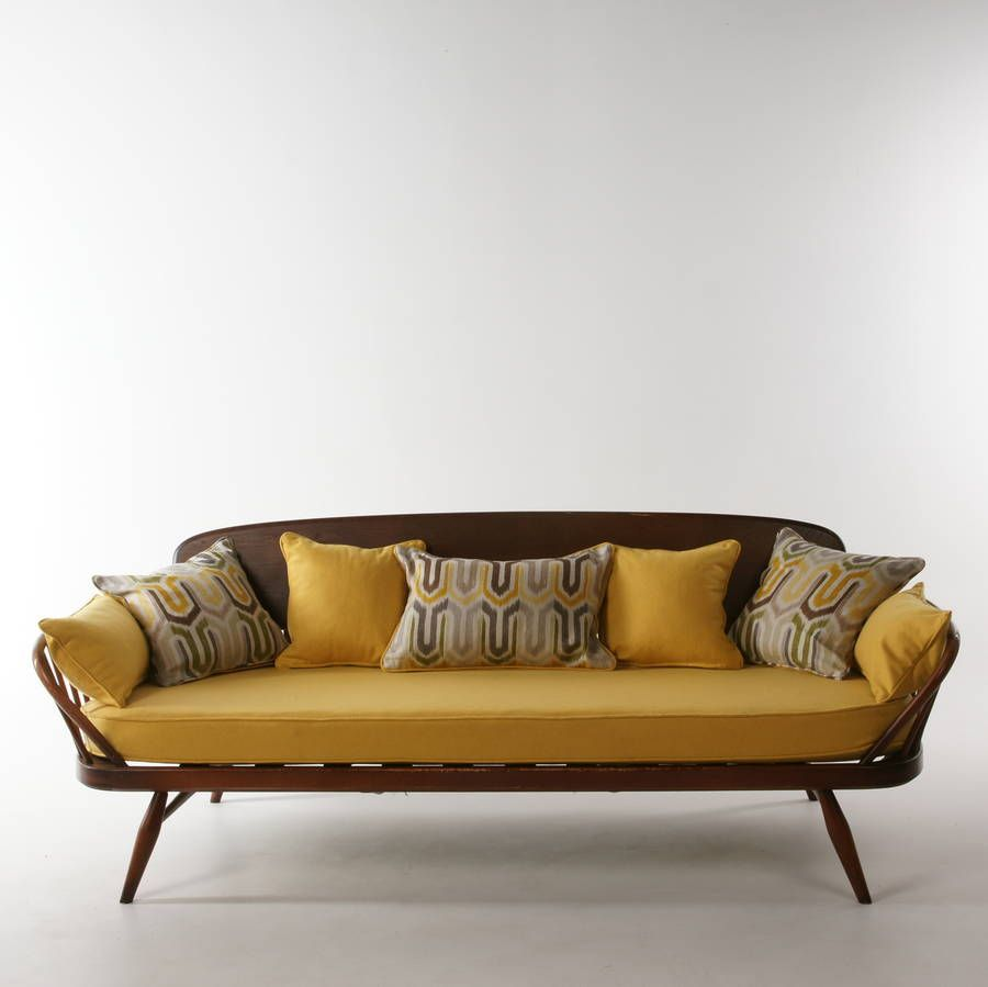 Antique Ercol Sofa: 1960's Vintage Refurbished And Upholstered Ercol Sofa In