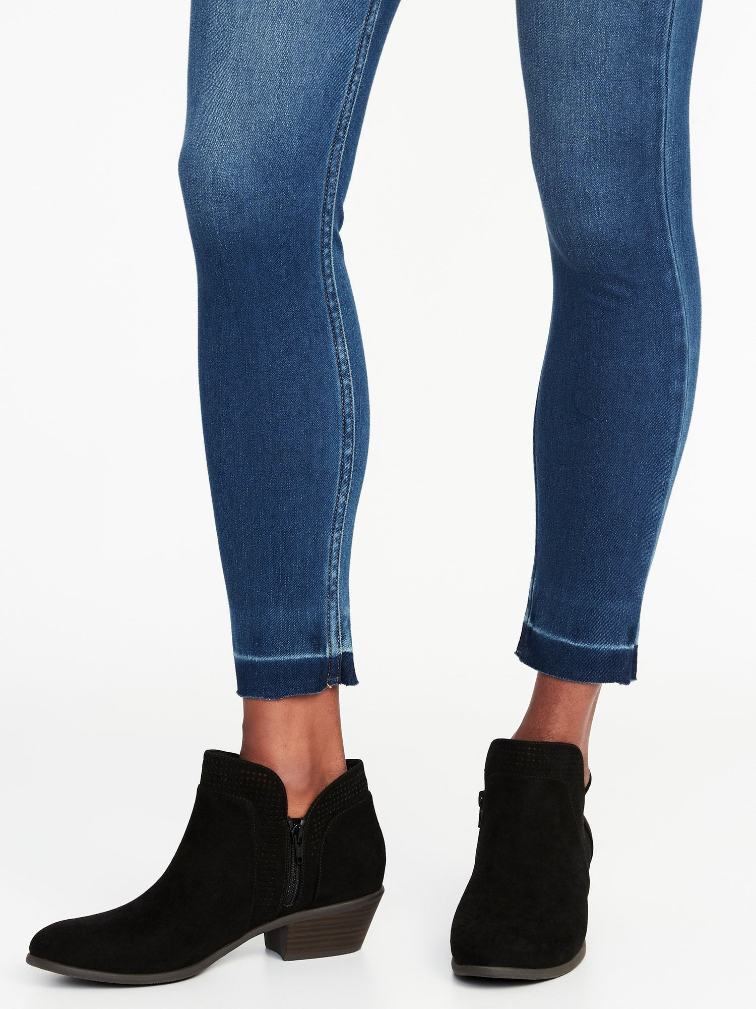 Perforated Faux-Suede Ankle Boots for