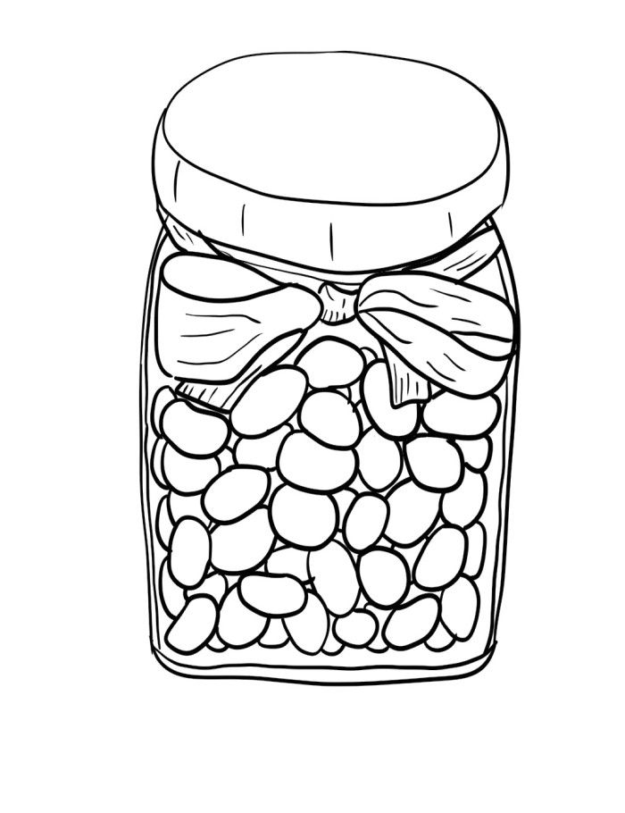 Jar Of Jelly Beans Coloring Pages Food Coloring Pages