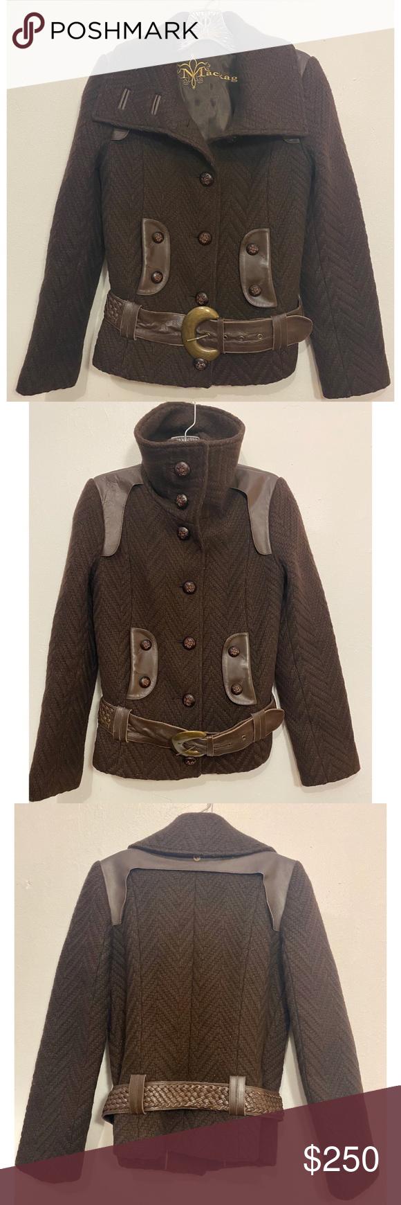 Mackage Brown Wool Coat w Leather Detailing & Belt Very