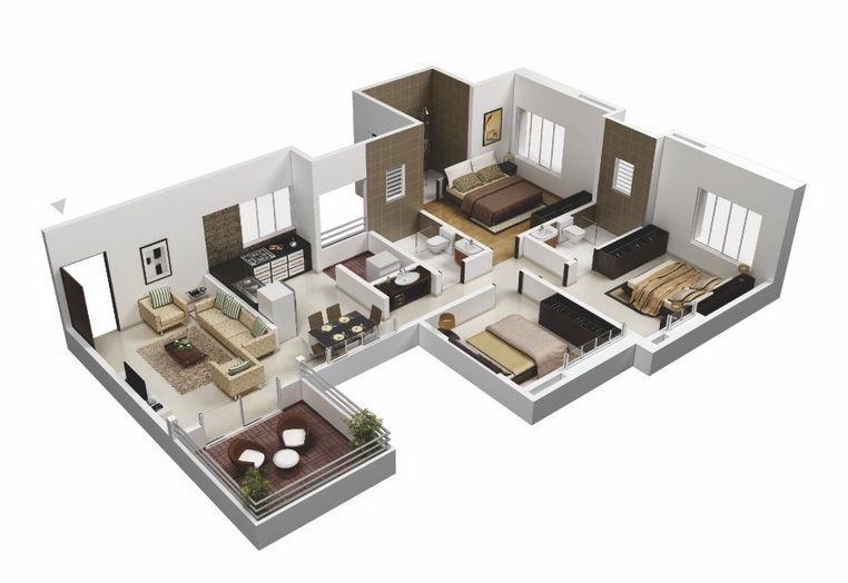 25-more-3-bedroom-3d-floor-plans (12)   H O M E - D E C O R ...