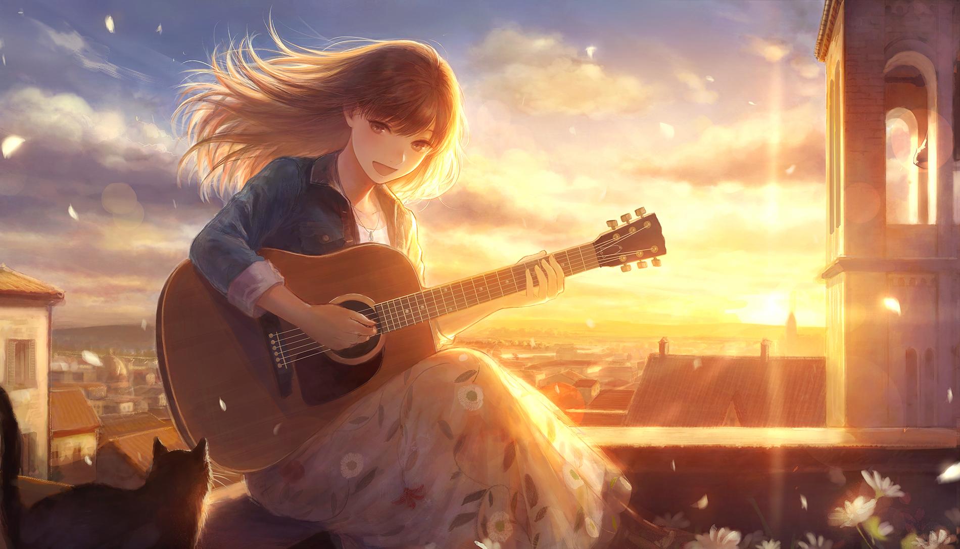Anime Original Guitar Cat Girl Brown Hair Skirt Sunset Town Long Hair Smile Wallpaper Anime Music Anime Guitar Girl