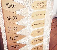 Tagesplan / Ablaufplan Hochzeit Vintage DIY Kraftpapier ...