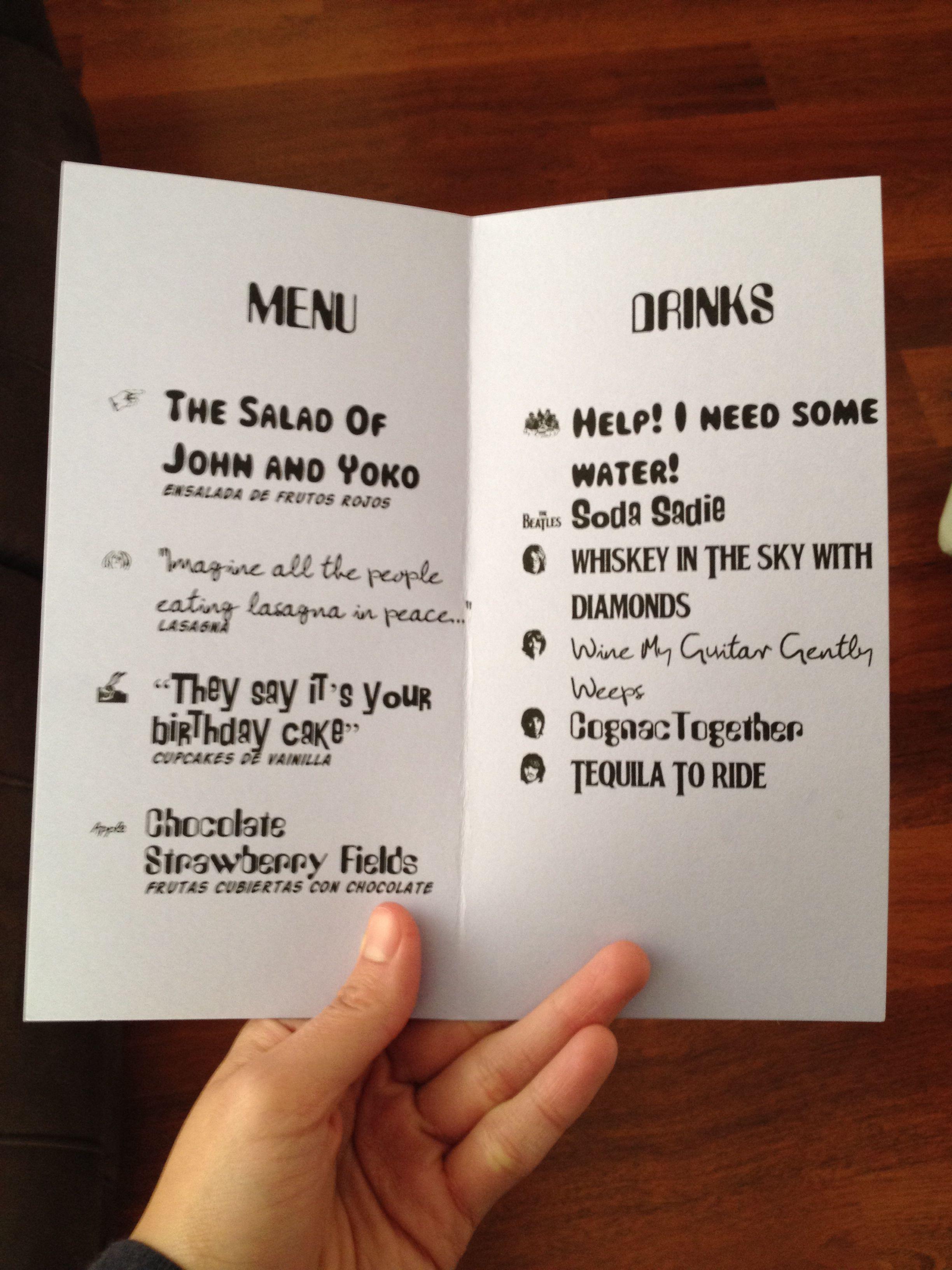 Beatle menu beatles birthday party mom birthday 1st birthday parties 1st birthdays