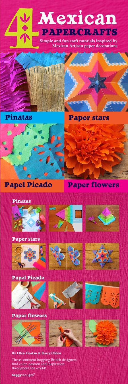 """4 Mexican paper crafts: Simple and fun craft tutorials inspired by Mexican Artisan paper decorations: Piñatas, paper stars, papel picado and paper flowers and paper stars - Compact 6"""" x 9"""" paperback book featuring 4 of our most popular tutorials. Just $15.95 from Amazon (postage not included) - https://happythought.co.uk/mexican-paper-craft-decorations #decorations #dayofthedead #paperflowers #papelpicado #paperstars #pinatas"""