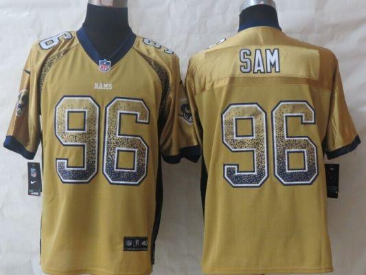 St.Louis Rams 96 Sam Drift Fashion Gold New Nike Elite Jerseys ... 107df76cb