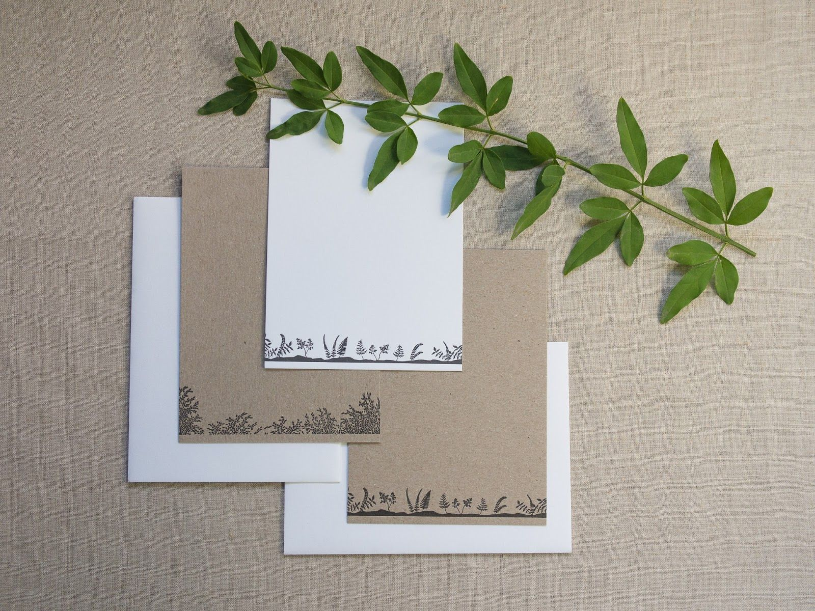 Simple, Organic Stationary with little fern accents on kraft and white paper Letterpress wedding invitation for a foodie couple | Underwood Letterpress | http://www.underwoodletterpress.com