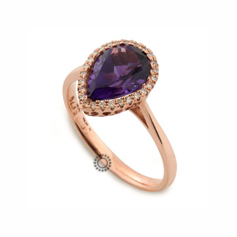 Μοντέρνο μονόπετρο δαχτυλίδι ροζέτα από ροζ χρυσό Κ18 με δάκρυ μωβ αμέθυστο   amp  διαμάντια  0b823e9a88a
