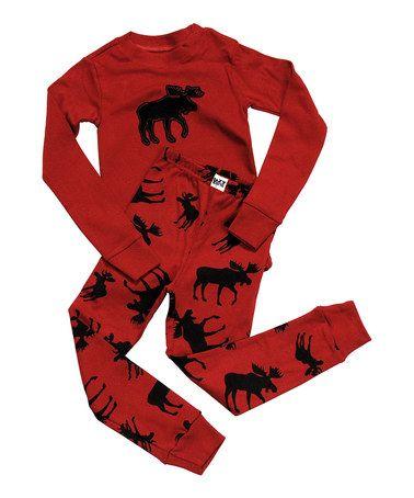 Lazy One Kids Children PJ Pajamas Sleepwear Toddler Red Black Classic Moose