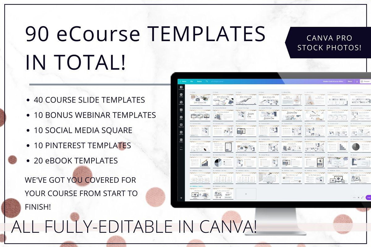 Ecourse Webinar Bundle Ppt Canva Workbook Template Ebook Template Pinterest Templates