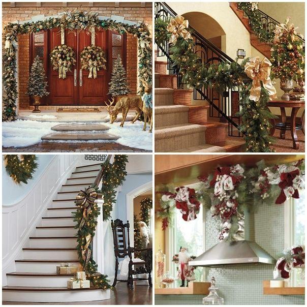 Weihnachtsdekoration Ideen weihnachtsdeko ideen girlanden treppenhaus weihnachts deko