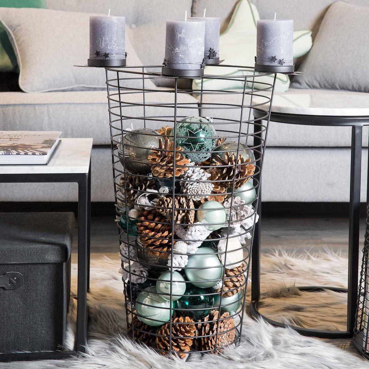adventskranz metallkorb dekorieren frohe weihnachten. Black Bedroom Furniture Sets. Home Design Ideas