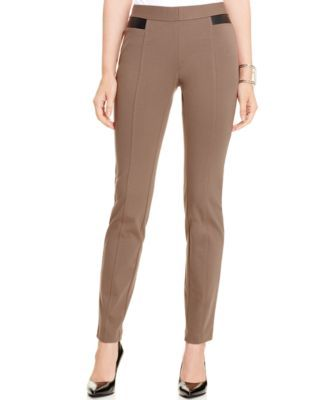 Alfani Faux-Leather-Trim Tummy-Control Pants, Only at Macy's-Coal Melange,Deep Black,Havana Blue,Modern Navy,New Wine,Polished Clay-$39.99