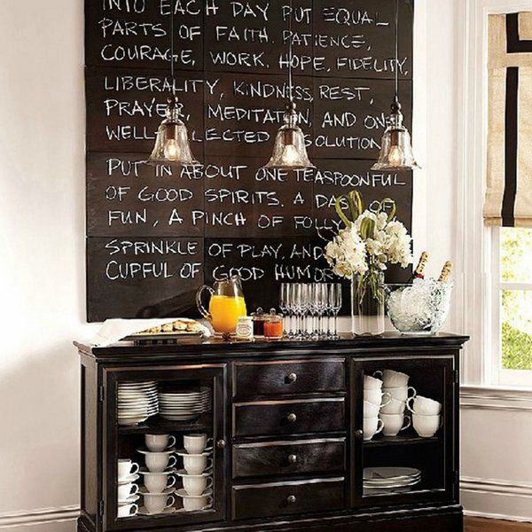 Coffee Bar Ideas Chalkboard Accent Wall Pendant Lights Kitchen - Chalkboard accents dining rooms
