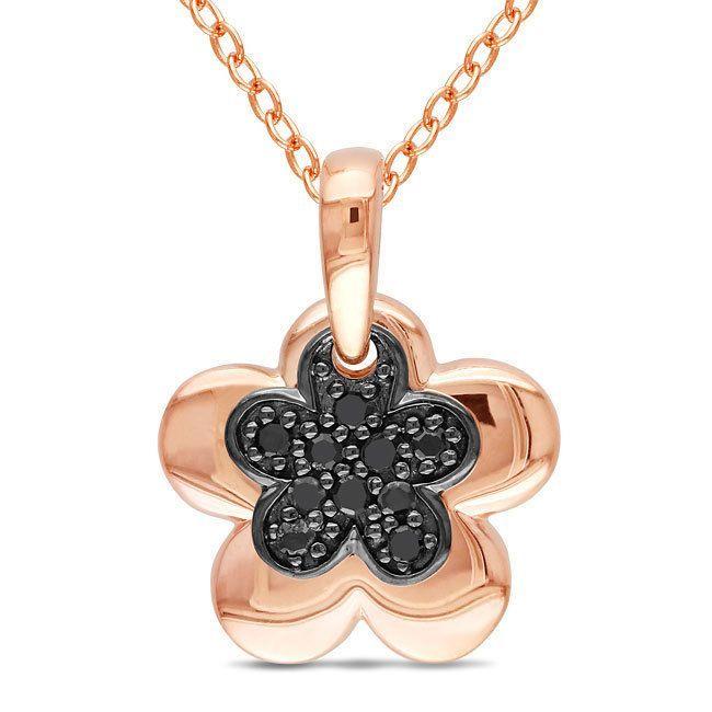 Miadora Pink Rhodium Plating Over Silver 1/10ct TDW Diamond Flower Necklace, Women's