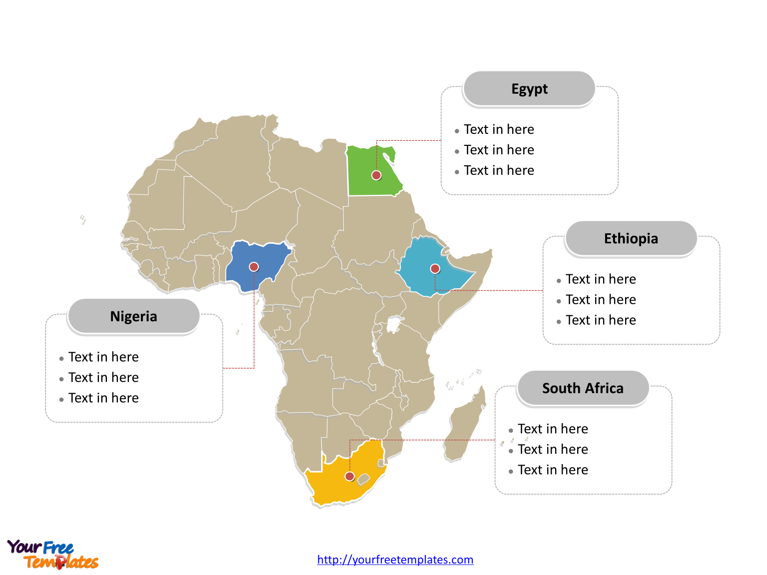 Immediately free download editable africa outline and political map immediately free map of africa with outline and countries and africa map free templates in powerpoint format no registration needed toneelgroepblik Images
