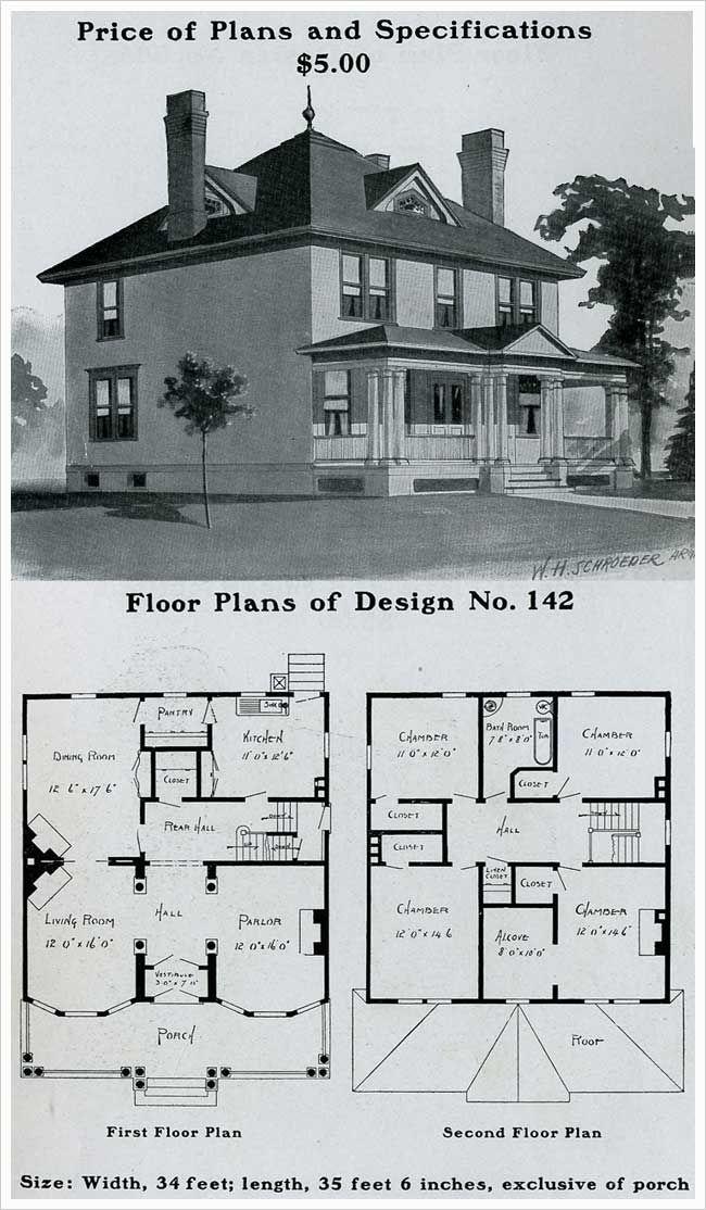 Radfor Homes Plan No 142 1903 Colonial Revival Plan Floor Plans Square House Plans House Plans Sims House Plans