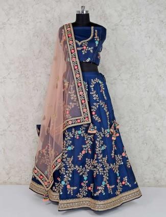 Navy silk wedding semi stitched lehenga choli - G3-WLC6722 | G3fashion.com