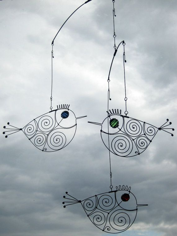 Three Metal Birds Mobile Wire Art Sculpture by MyWireArt on Etsy ...