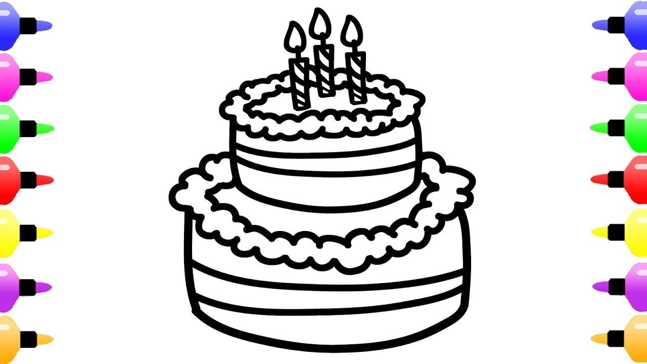 How To Draw Birthday Cake For Kids Colourful Coloring Book With