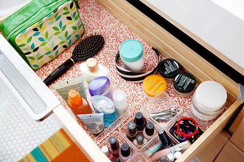 Use contact paper to make drawer liners