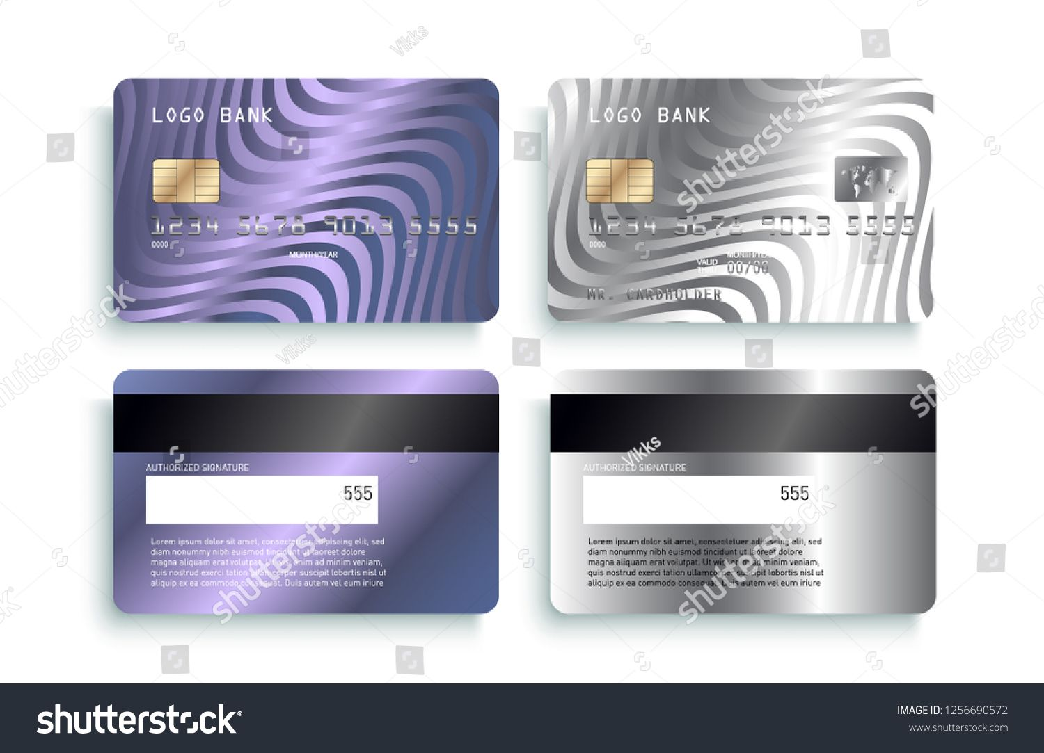 Luxury Credit Card Template Design Realistic Detailed Silver Credit Cards Mockup Vector Illustration Template Design Real Card Template Template Design Cards