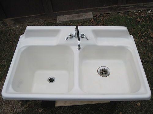 Antique Vintage Crane \'Kitchen Pride\' Cast Iron Farmhouse Sink ...