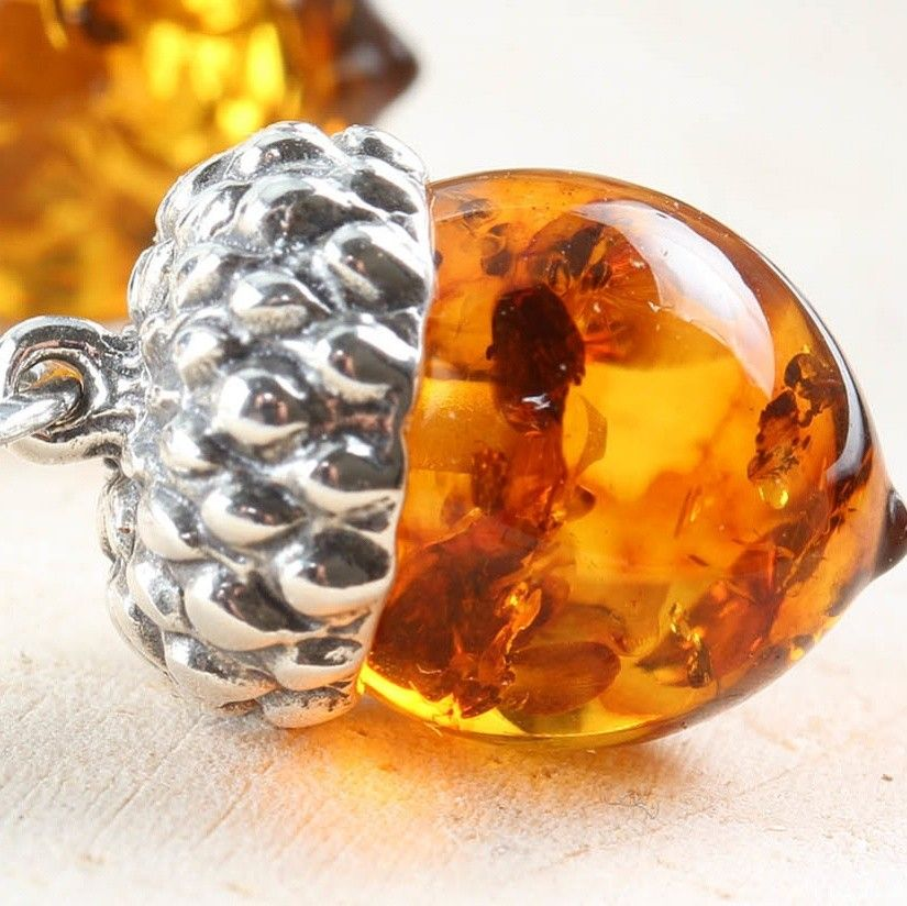 Unique Detailed Amber 33mm Drop Earrings