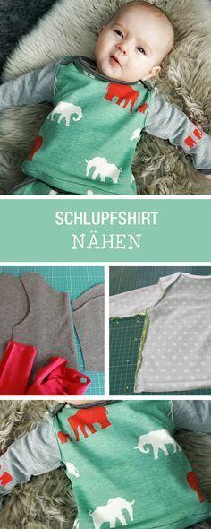 Nähen für Babys: DIY-Anleitung für ein kuscheliges Schlupfhirt / how to sew a cute shirt for babys via DaWanda.com #babykidclothesandideas