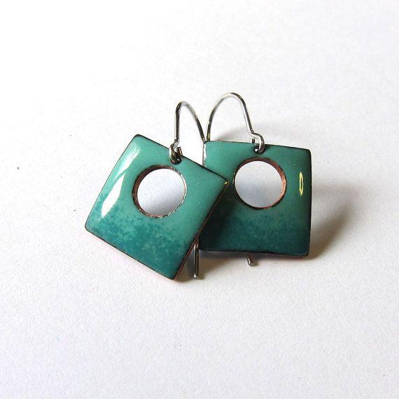 Small teal enamel earrings Turquoise green square drops Enameled ...