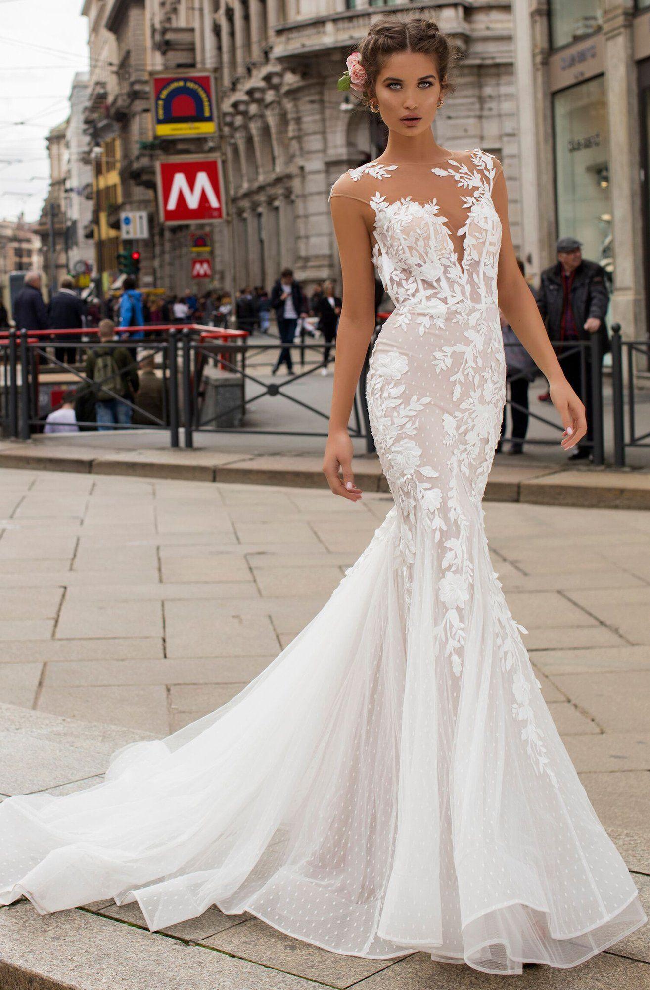 Tarik Ediz 50406 Floral Lace Mermaid Dress With Train Wedding Dresses Summer Wedding Dress Beach Mermaid Dresses [ 2000 x 1314 Pixel ]