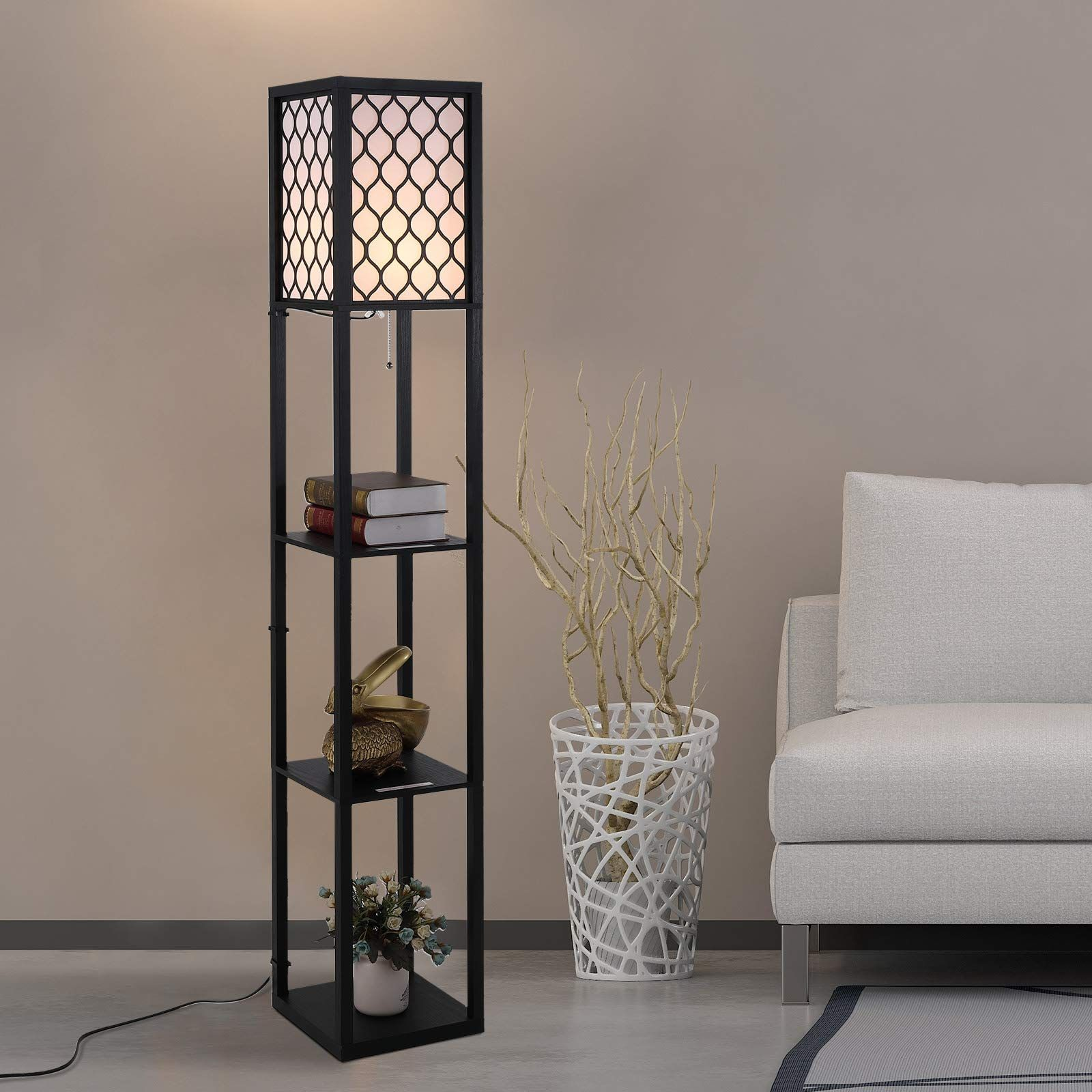Wooden Modern Shelf Floor Lamp Light with 4tier