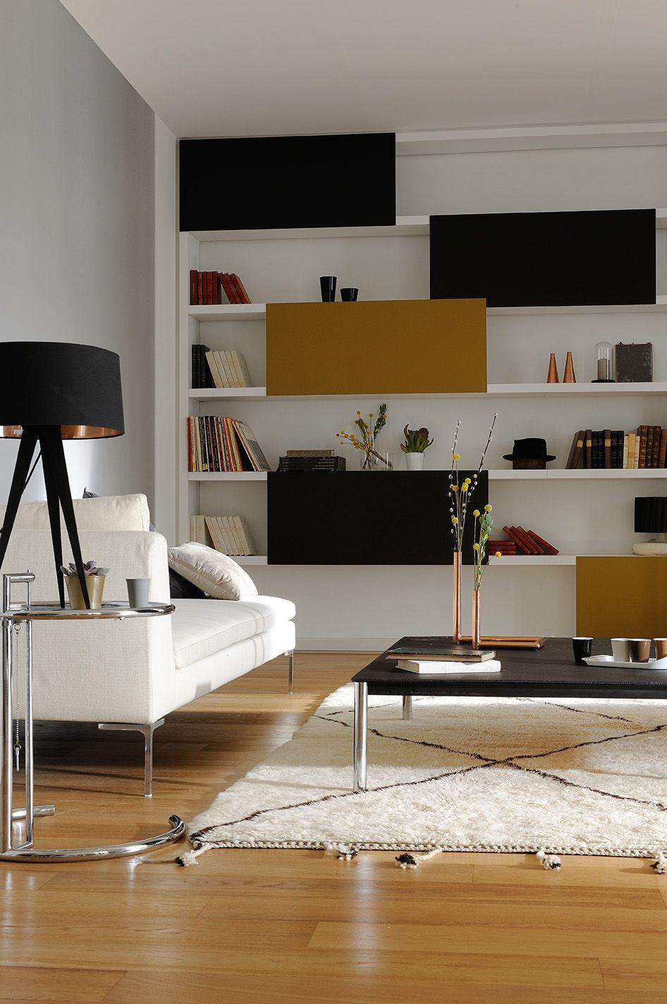 Une ambiance o r gnent luxe calme et volupt zolpan peinture salon blanc noir ocre - Ambiance peinture salon ...