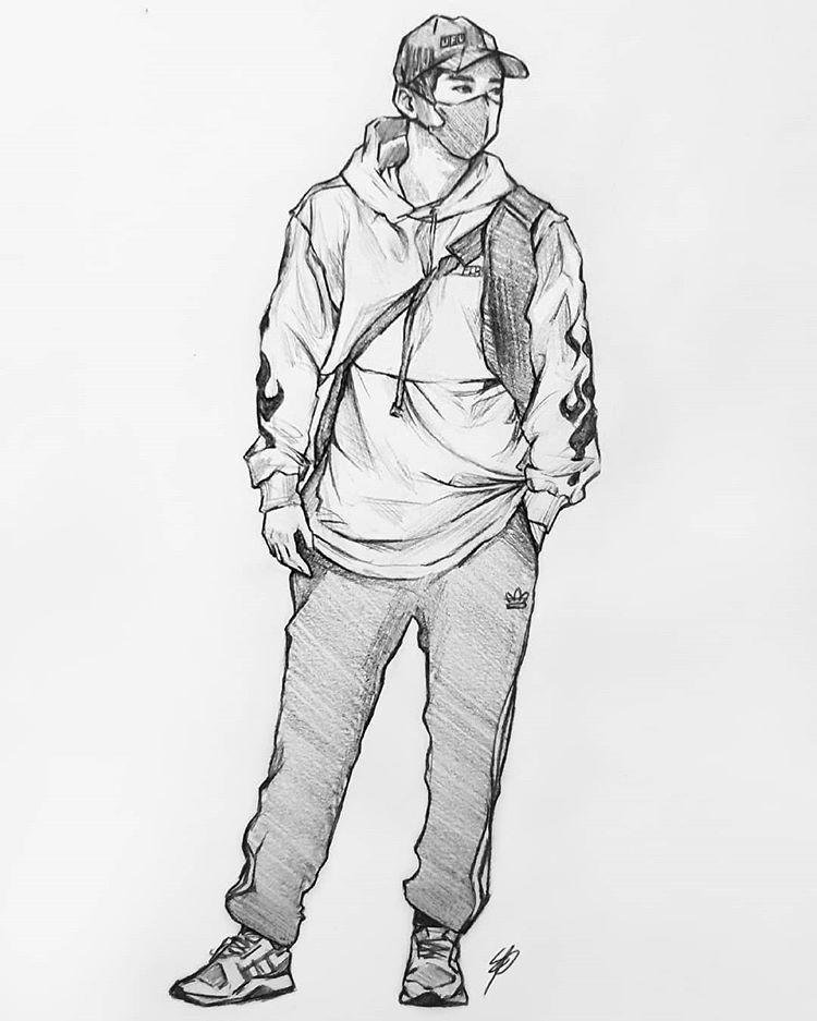 Nikki On Instagram Cropped Hoodies Have Never Looked So Good Monstax Monstaxfanart Fanart Wonho Concept Art Drawing Character Sketch Kpop Drawings