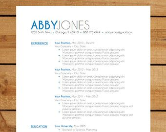 resume template instant word document download modern resume design bold blue