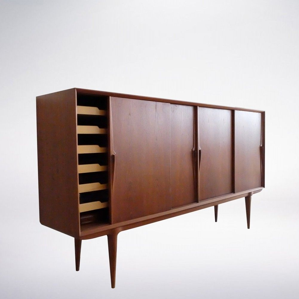 Scandinavian Mid-Century Modern Teak Wood Sideboard by Gunni Omann on