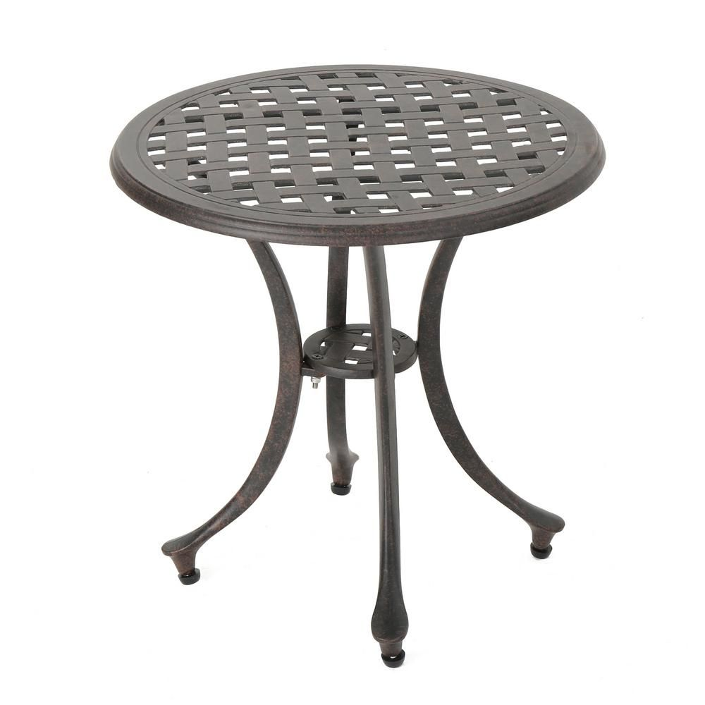 Noble House Bronze Round Aluminum Outdoor Side Table 15755 Patio Side Table Outdoor Side Table Table