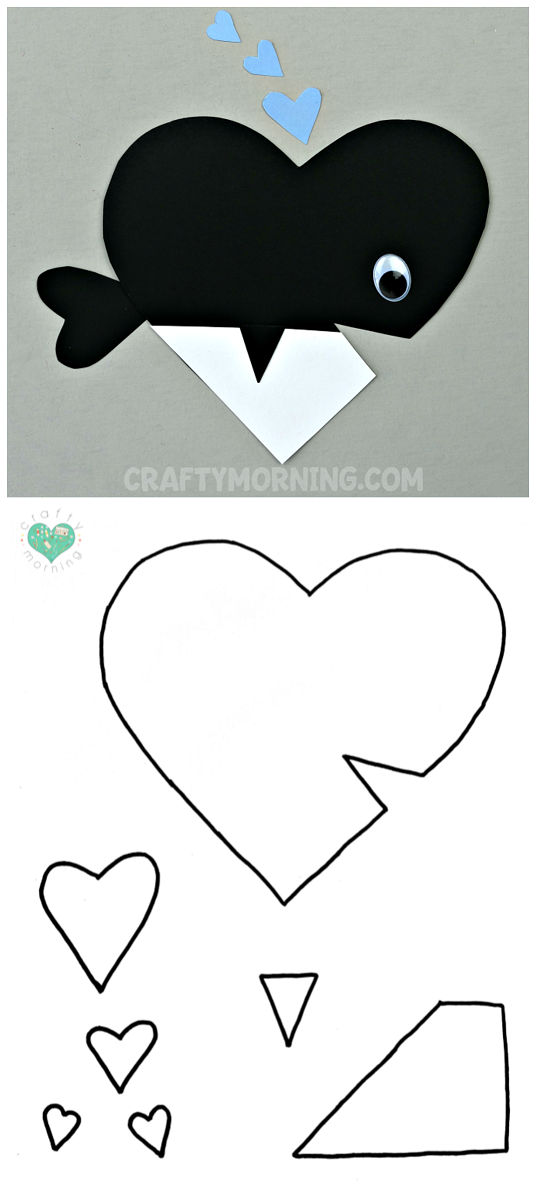 Free Printable Templates of Heart Shape Animals - Whale valentines ...