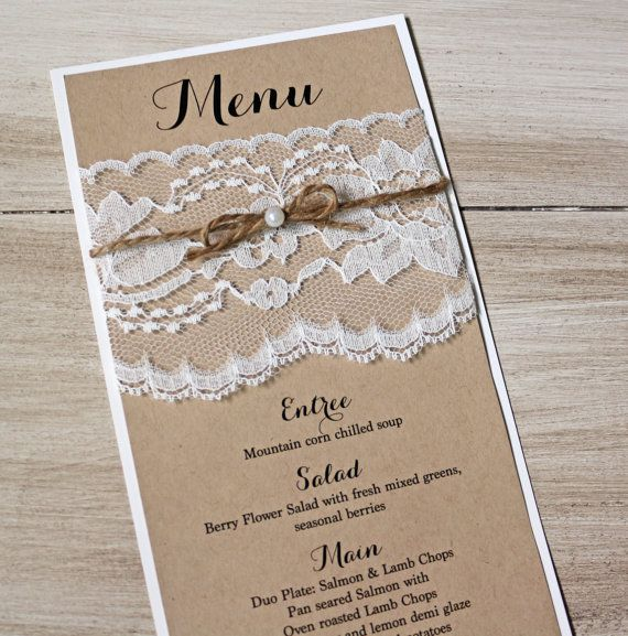 Rustic Wedding Wedding Menus  Menu Simple Calligraphy Wedding
