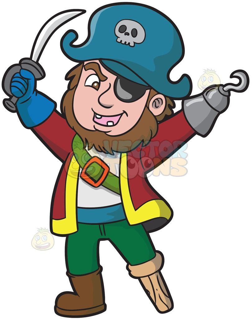 A happy pirate with missing teeth and an eye patch :  A man with brown hair and beard incomplete set of teeth black patch covering his left eye wearing a teal pirate hat with skull red with yellow coat white shirt green belt with orange buckle across his chest blue waist belt green pants brown boots covering his right foot blue glove protecting his right hand that is holding a sword left hand replaced with a stainless hook and his left foot is turned into a wooden leg  The post A happy…