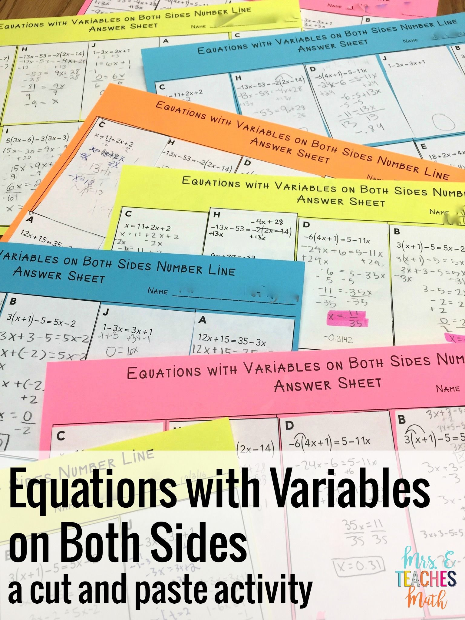 Equations With Variables On Both Sides Number Line Activity For Algebra 1 Equations Solving Equations Middle School Math Lesson Plans