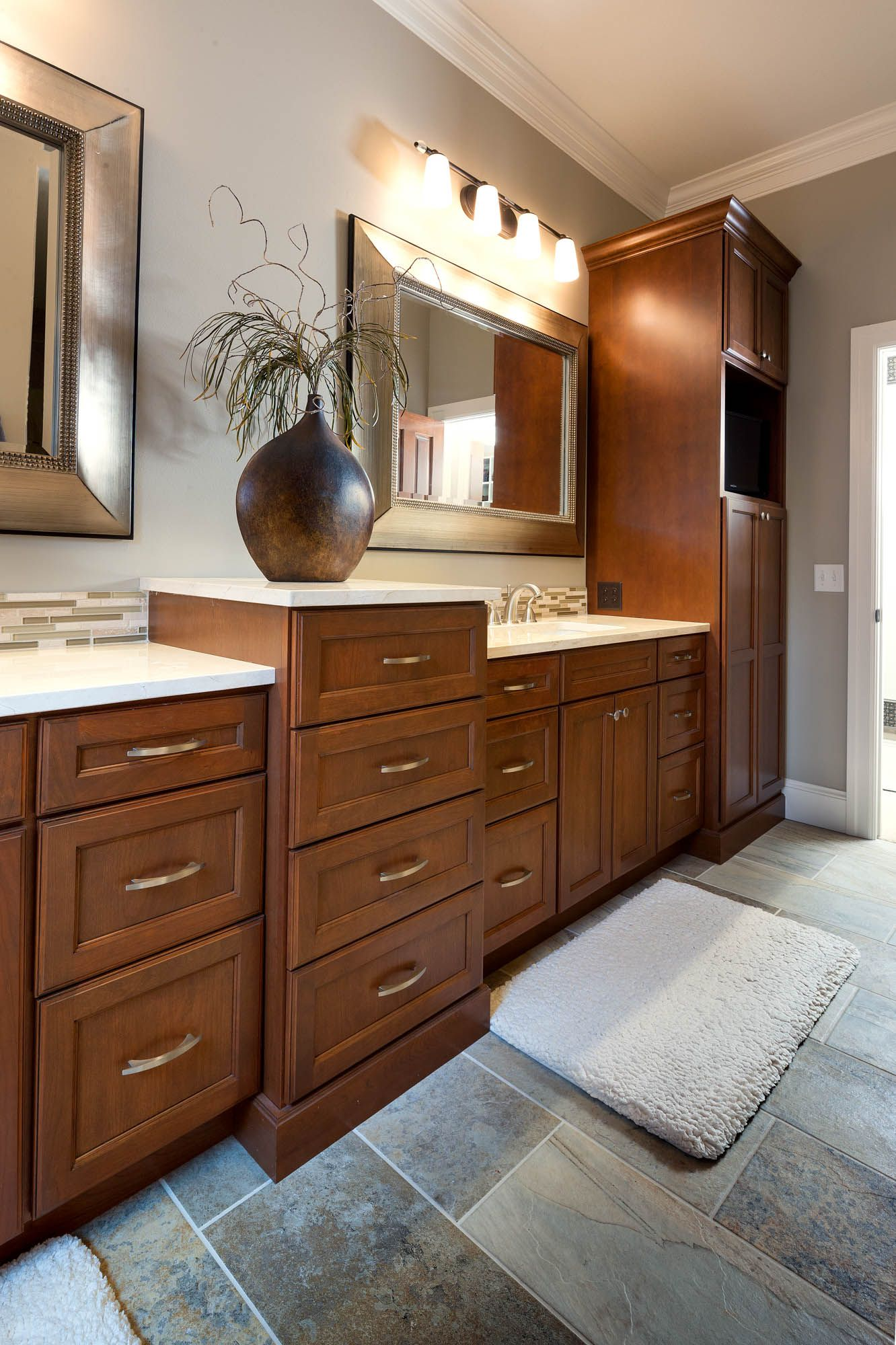 Warm Welcome | Cherry cabinets, Family room design, Room ...