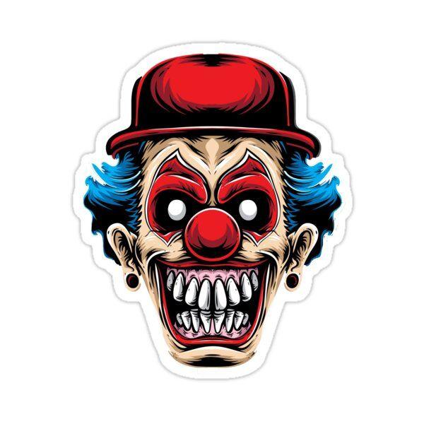 Creepy Clown Sticker By Alex Dee In 2021 Scary Clown Face Scary Clowns Joker Artwork