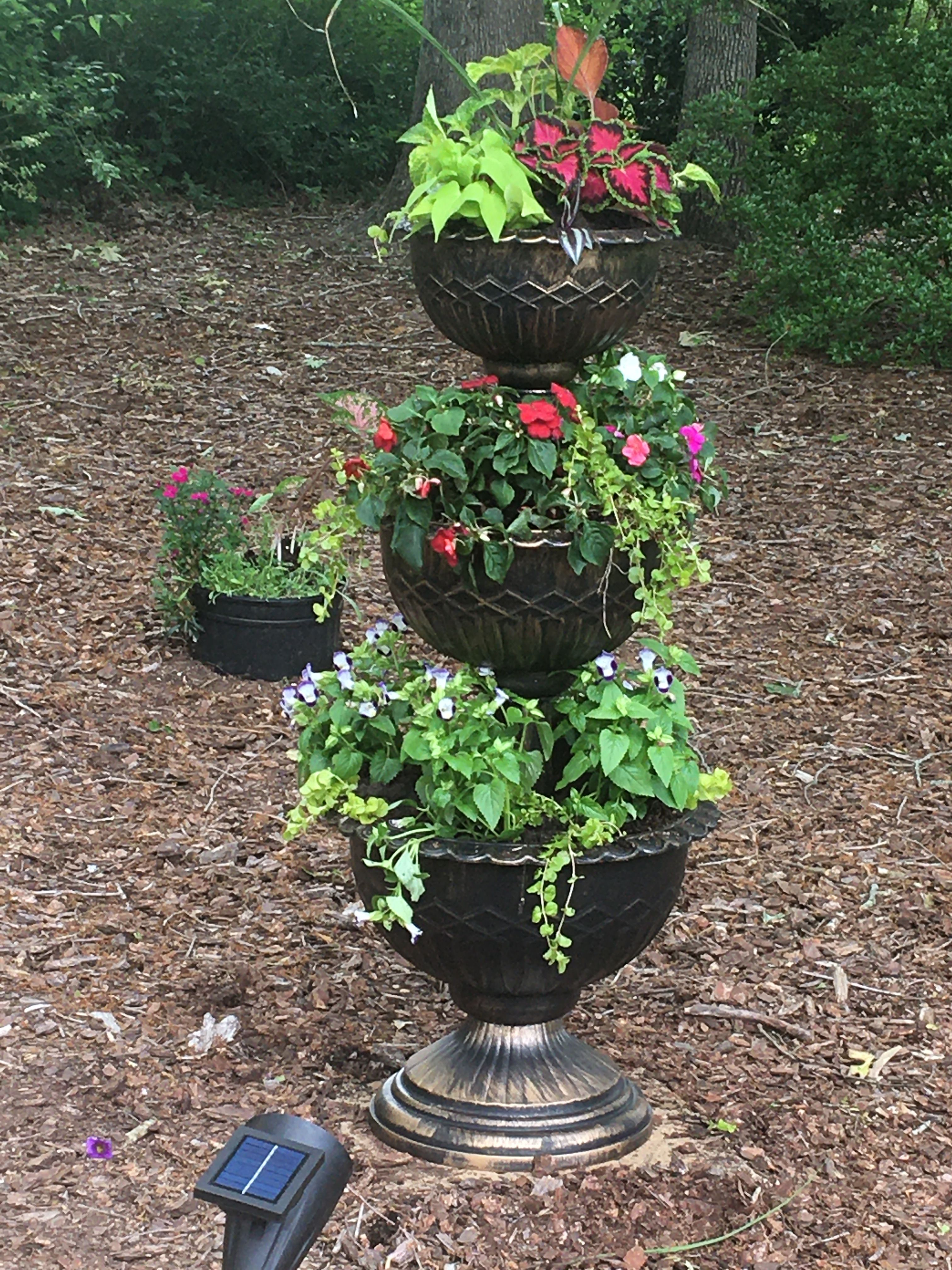 3 Tier Planter Aldi : planter, Stacked, Planter, Flower, Tower,, Beautiful, Gardens,, Tiered