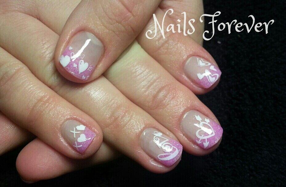 Valentine's Pink n White Gel Nails