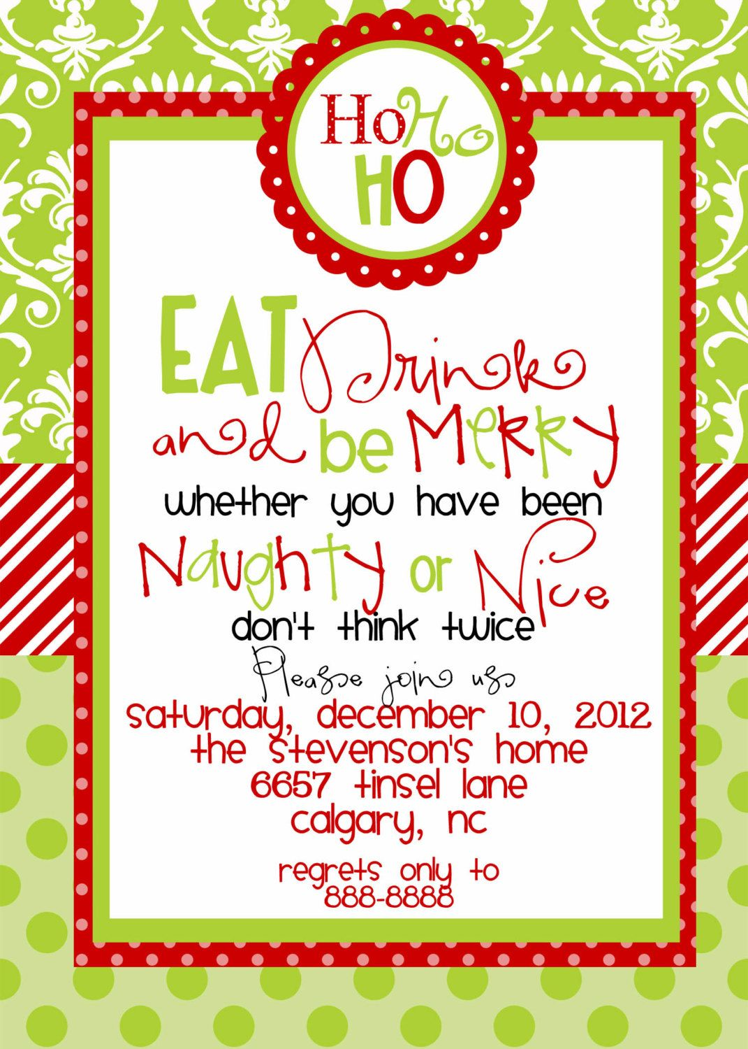 printable christmas party invitations red and green or pink and ...