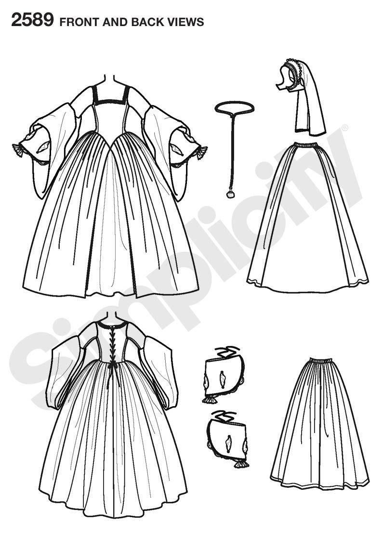 Womens Tudor Costume Costume Sewing Pattern 2589