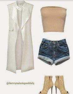 Jean Denim Outfit Ideas summer 2016 outfit Ideas, Ripped Jeans shorts, Nude tube top, nude ankle boots, white  sleeveless vest, Spring, women, fashion, style,