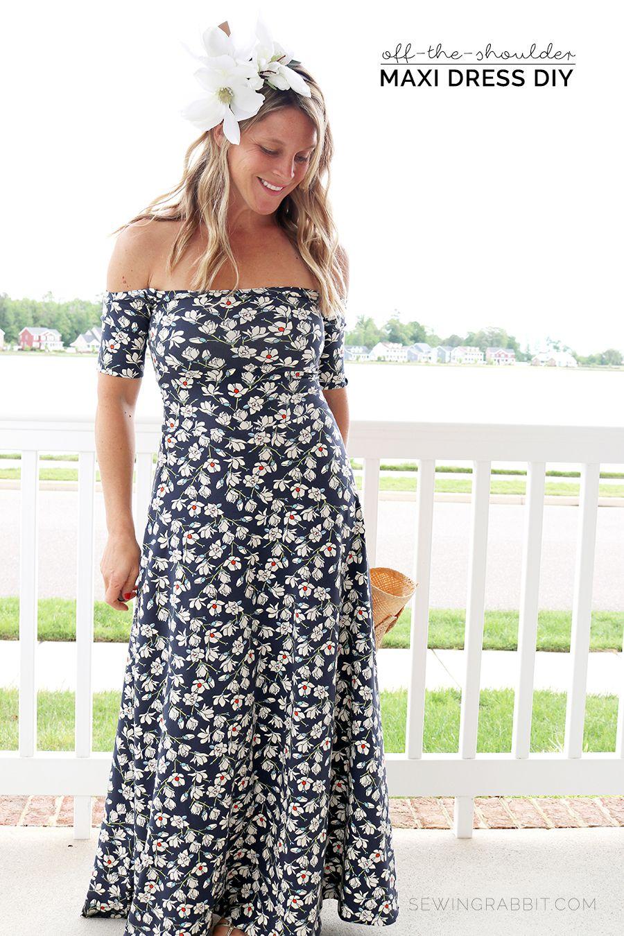 Off the Shoulder Maxi Dress DIY | Kleider nähen, Nähanleitung und Rock